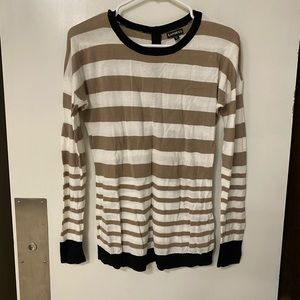 Taupe and white stripe sweater with black trim